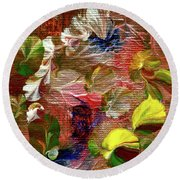 Blue Butterfly Jungle Round Beach Towel