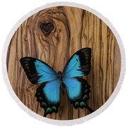 Blue Butterfly On Wood Grain Round Beach Towel
