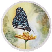 Round Beach Towel featuring the painting Blue Butterfly by Sam Sidders