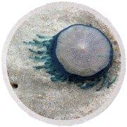 Blue Button #2 Round Beach Towel
