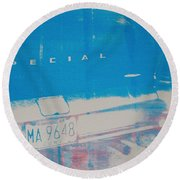 Blue Car Round Beach Towel