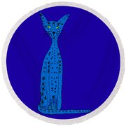 Blue Cat Round Beach Towel by Barbara Moignard