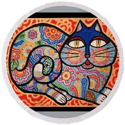 Round Beach Towel featuring the painting Blue Cat by Jim Harris