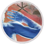Round Beach Towel featuring the painting Blue Celestial  by Rene Capone