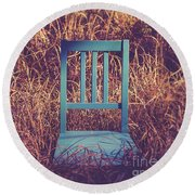 Blue Chair Out In A Field Of Talll Grass Round Beach Towel by Edward Fielding