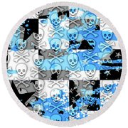 Blue Checker Skull Splatter Round Beach Towel