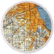 Blue Chicago Old Map, Orange Map Round Beach Towel