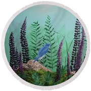 Blue Chickadee Standing On A Rock 1 Round Beach Towel