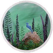 Blue Chickadee Standing On A Rock 2 Round Beach Towel