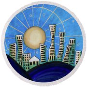 Blue City  Round Beach Towel