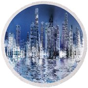 Blue City Round Beach Towel by Stuart Turnbull
