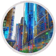 Blue Cityscape Round Beach Towel