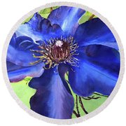 Blue Clematis Round Beach Towel