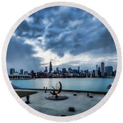 Blue Clouds And Chicago Skyline Round Beach Towel