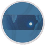 Blue Cloudy Moon Round Beach Towel