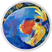 Round Beach Towel featuring the painting Blue Cockatiel by Donald J Ryker III