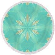 Round Beach Towel featuring the digital art Blue Coffee by Elizabeth Lock