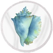 Blue Conch Shell Round Beach Towel