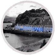 Blue Cottages At Portree Harbour 5 Round Beach Towel