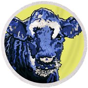 Blue Cow Round Beach Towel