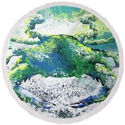 Blue Crab Abstract Round Beach Towel