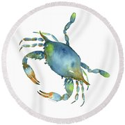 Blue Crab Round Beach Towel