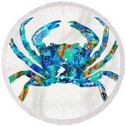 Blue Crab Art By Sharon Cummings Round Beach Towel