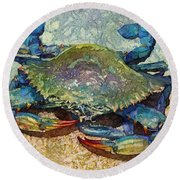 Blue Crab Round Beach Towel