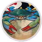 Blue Crab Of Maryland Round Beach Towel