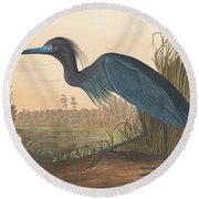 Blue Crane Or Heron Round Beach Towel