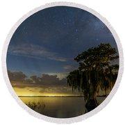 Blue Cypress Lake Nightsky Round Beach Towel