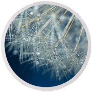 Blue Dandelion Dew By Kaye Menner Round Beach Towel