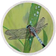 Blue Dasher Round Beach Towel by Terri Mills