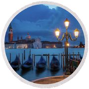 Round Beach Towel featuring the photograph Blue Dawn Over Venice by Brian Jannsen