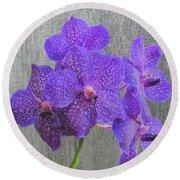 Purple Dendrobium Orchids Round Beach Towel by Rosalie Scanlon