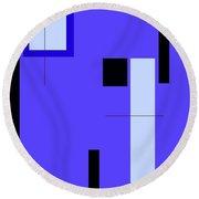 Blue Design 1 Vertical Round Beach Towel
