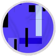 Blue Design 1 Vertical Round Beach Towel