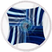 Blue Dimension  Round Beach Towel by Thibault Toussaint
