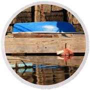 Blue Dingy Round Beach Towel