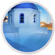 Blue Domed Chapel Round Beach Towel