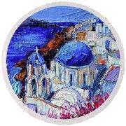 Blue Domed Churches In Oia Santorini - Mini Cityscape 08 - Palette Knife Oil Painting Round Beach Towel
