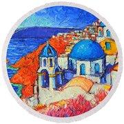 Blue Domes In Oia Santorini Greece Original Impasto Palette Knife Oil Painting By Ana Maria Edulescu Round Beach Towel