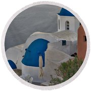 Blue Domes Round Beach Towel