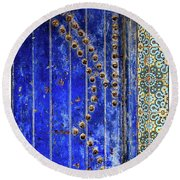 Round Beach Towel featuring the photograph Blue Door In Marrakech by Marion McCristall