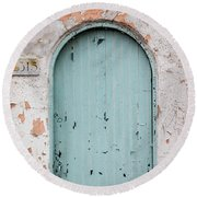 Blue Door Round Beach Towel by Jean Haynes