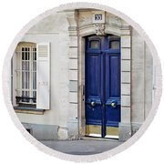 Round Beach Towel featuring the photograph Blue Door - Paris, France by Melanie Alexandra Price