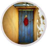 Blue Door With Chiles Round Beach Towel by Joseph Frank Baraba
