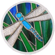 Blue Dragonfly On Reeds With Bluey Green Background Round Beach Towel