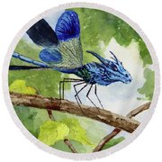 Round Beach Towel featuring the painting Blue Dragonfly by Sam Sidders