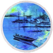Blue Dream 2 Round Beach Towel